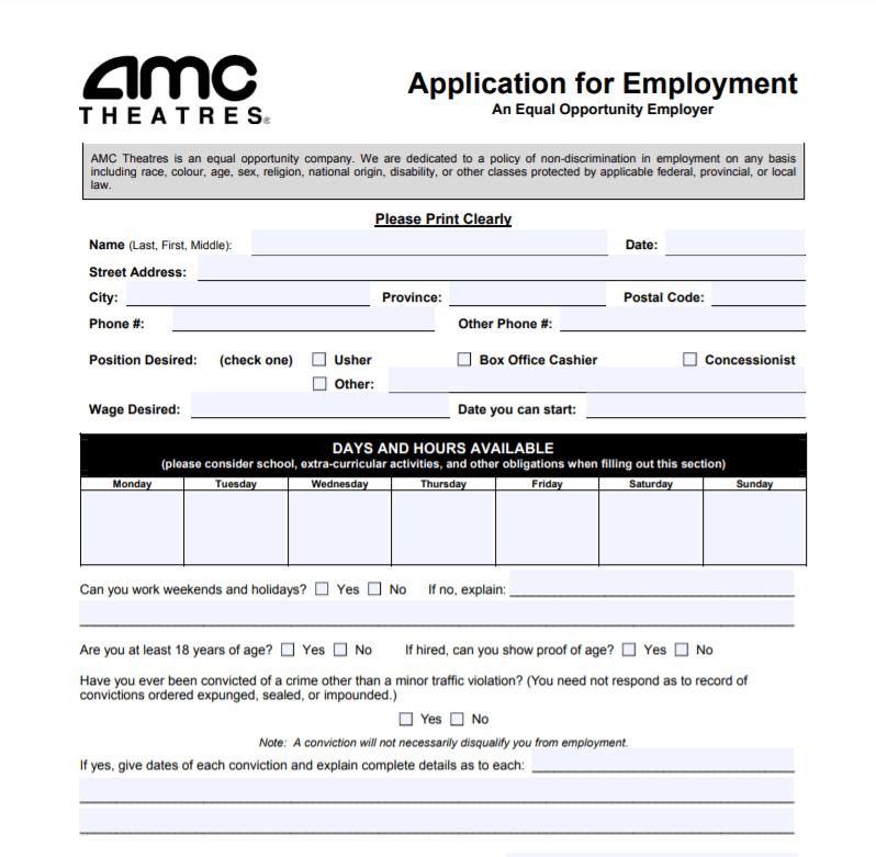 AMC Theatres job application form
