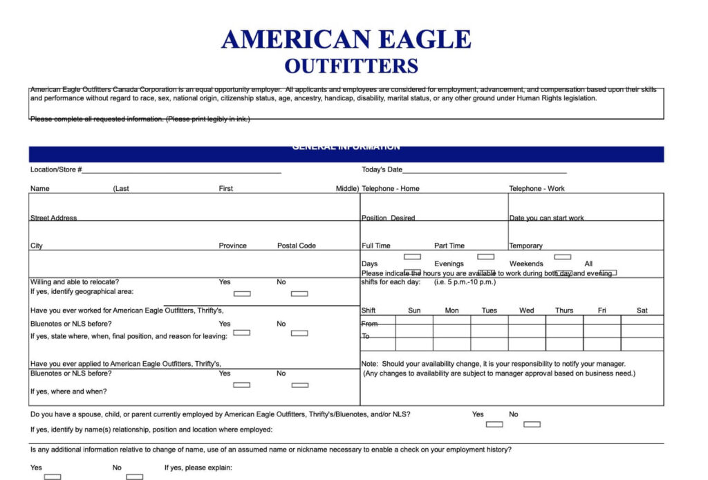 American Eagle Outfitters PDF application