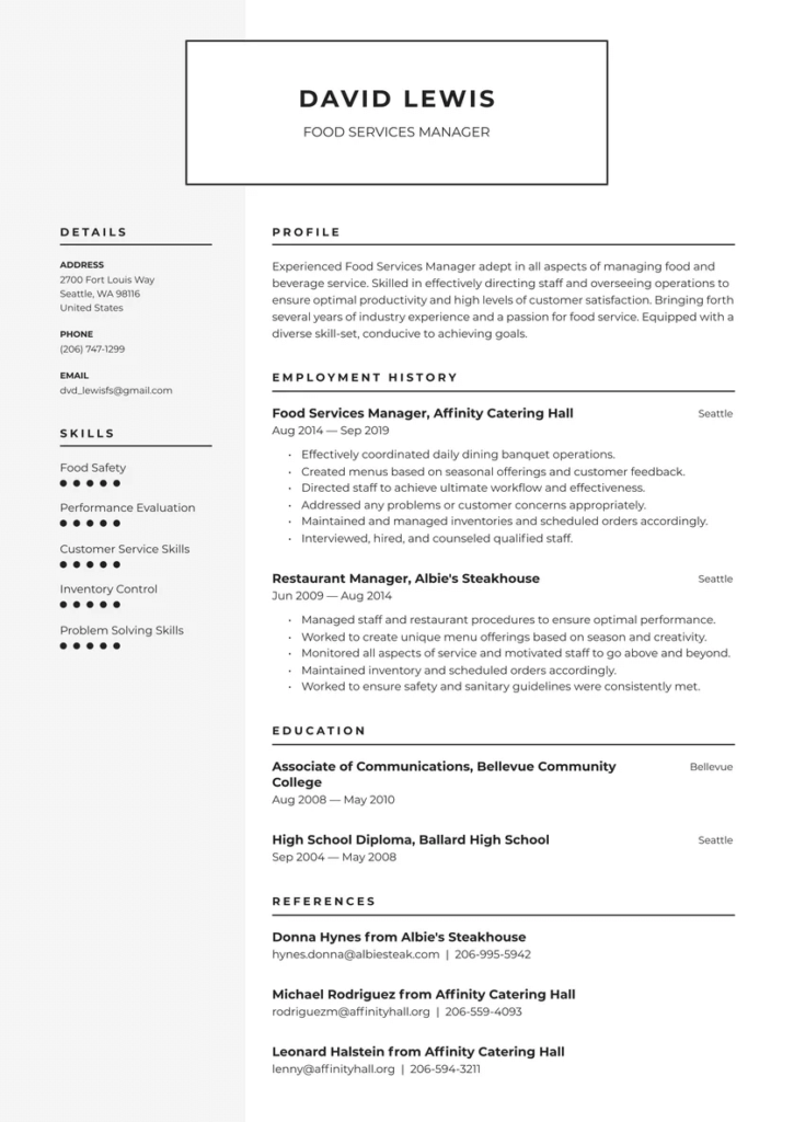 Arby's Manager Resume Template