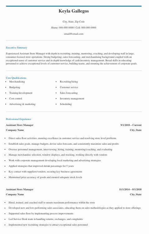 Assistant Store Leader Resume Template