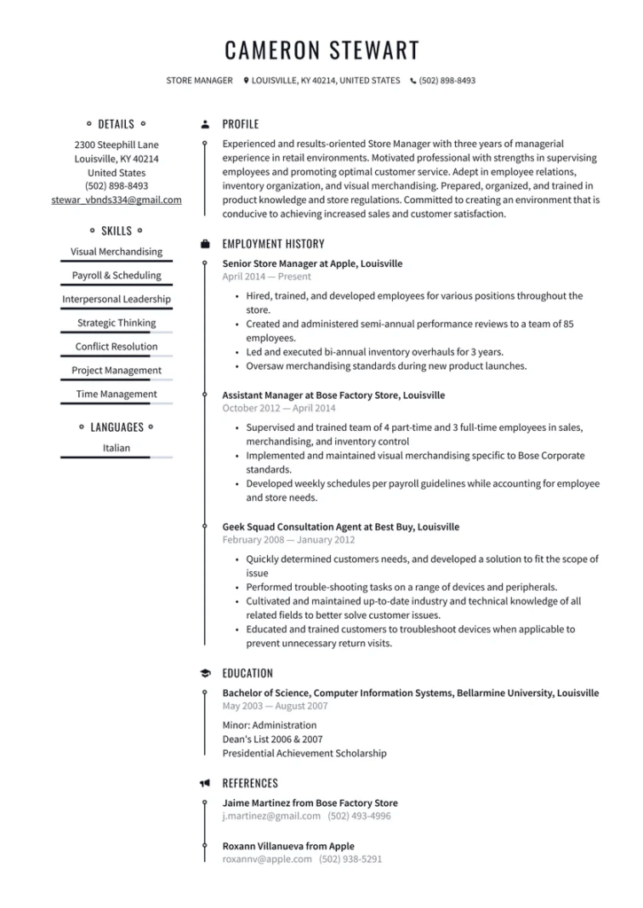 Belk Manager - Department Manager and Store Manager Resume Template