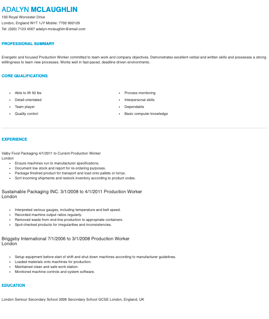 Cargill General Production Worker Resume Template