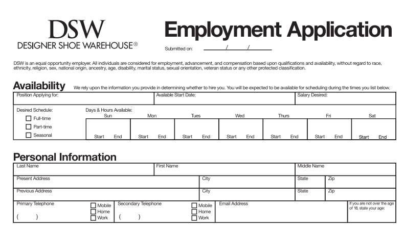 DSW Online Job Application