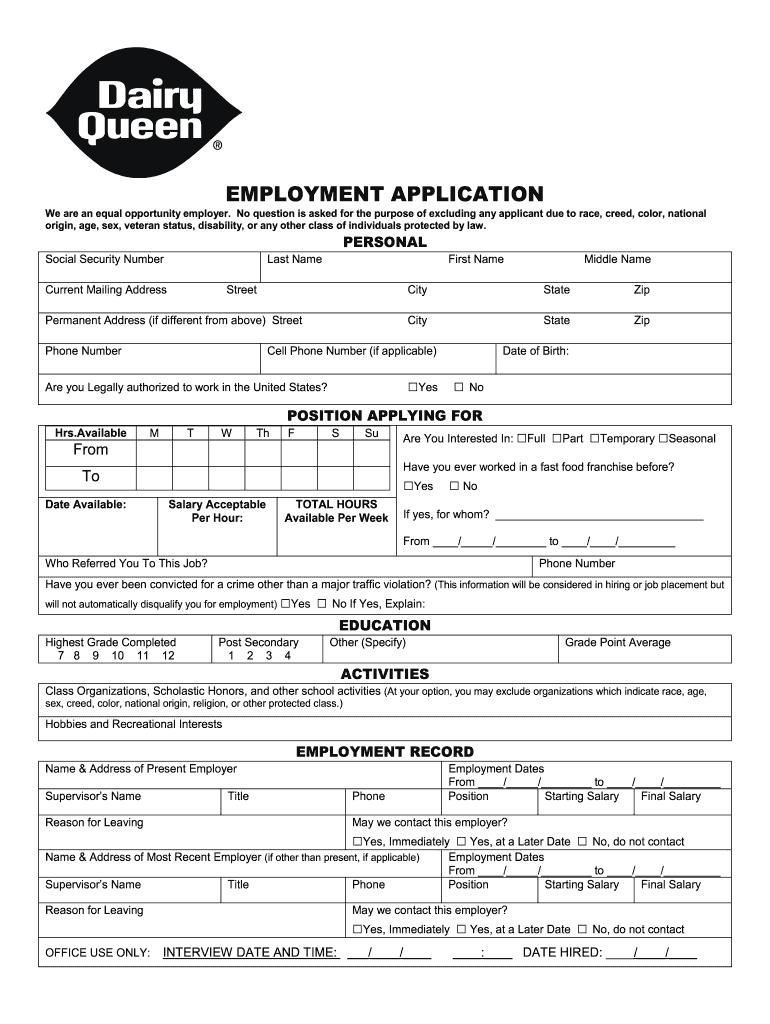 Dairy Queen application