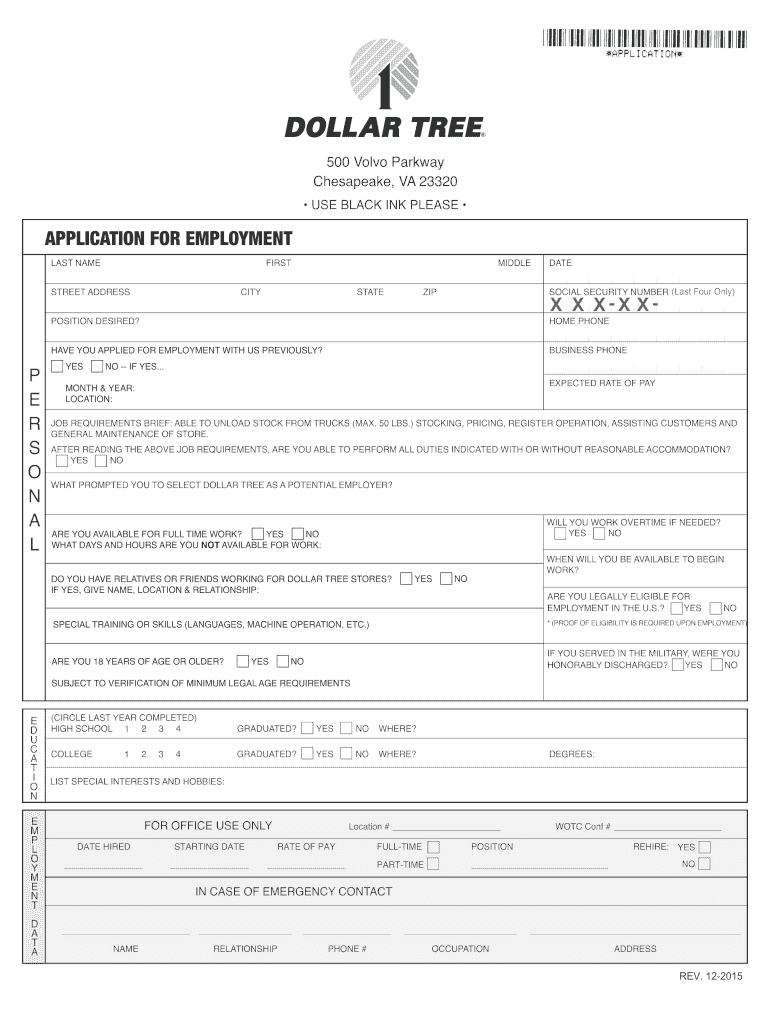 Dollar Tree application form for employment