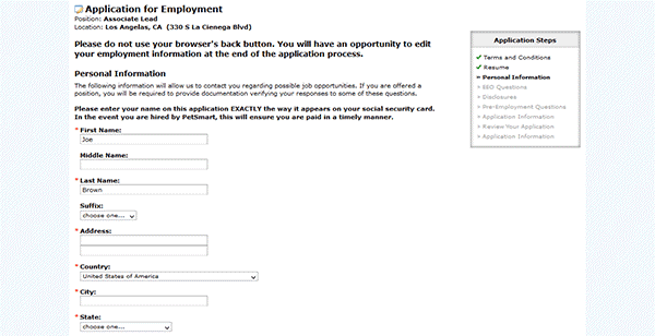 Petsmart online application