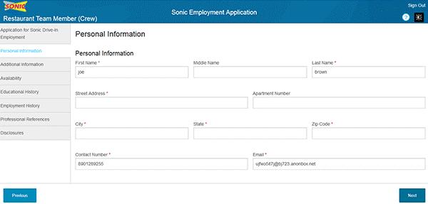 Sonic online application