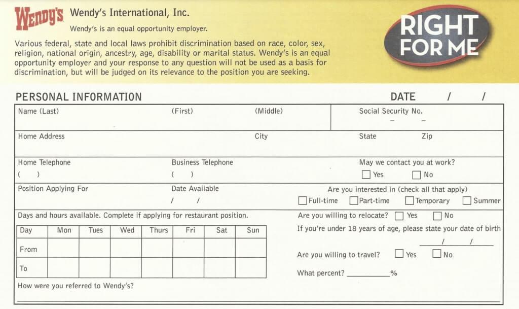 Wendy's PDF application