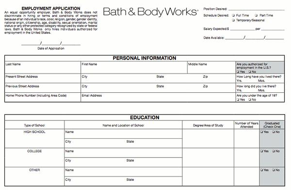 Bath & Body Works Application