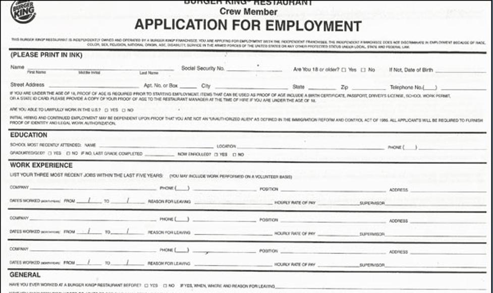 Burger King PDF application